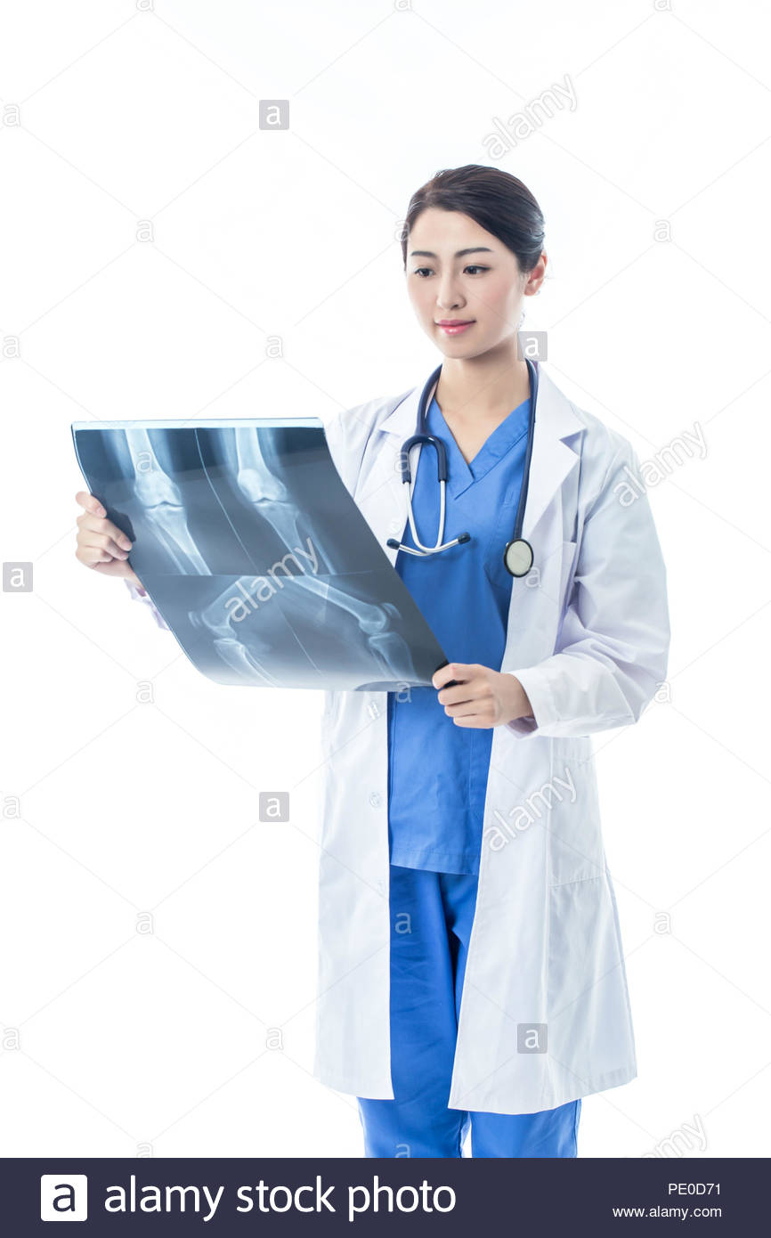 Doctor portrait. Isolated on white - Stock Image