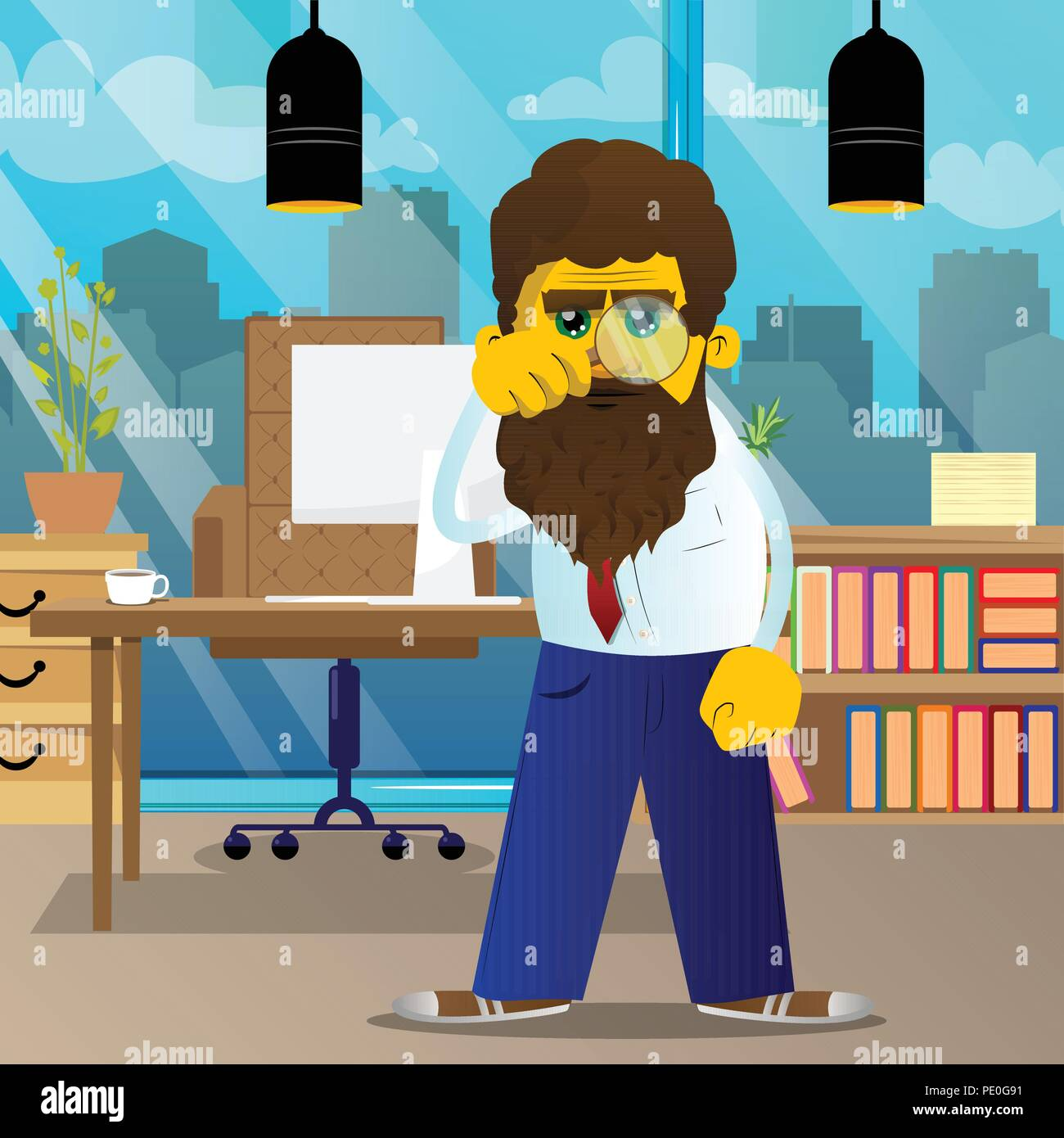 Yellow man holding a magnifying glass. Vector cartoon illustration. - Stock Image