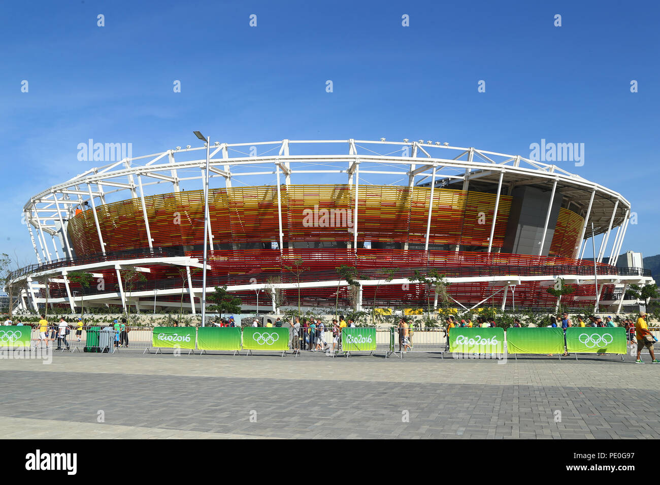 Main tennis venue Maria Esther Bueno Court of the Rio 2016 Olympic Games at the Olympic Tennis Centre Stock Photo