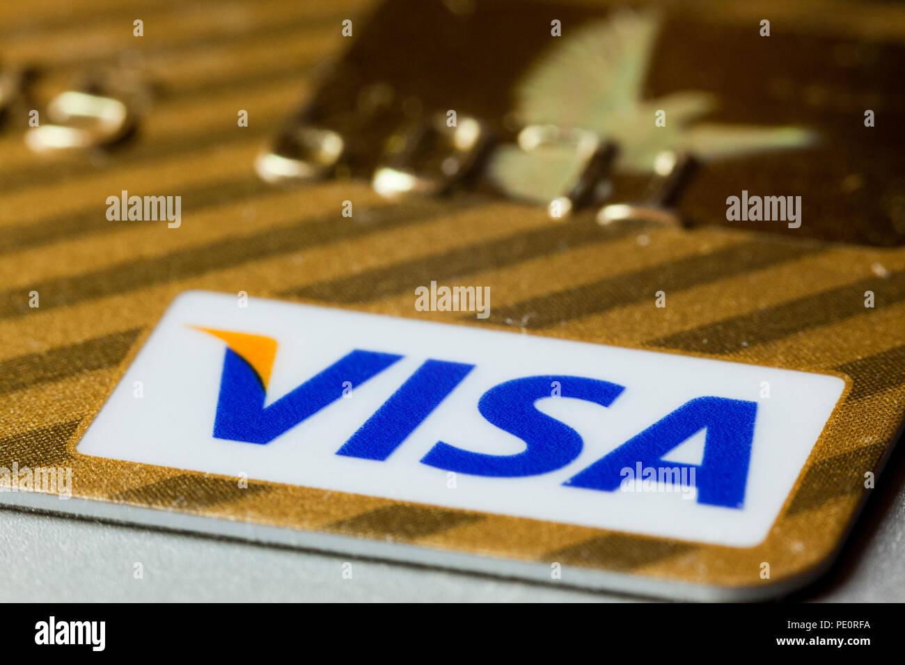 Visa credit card logo close up - USA - Stock Image