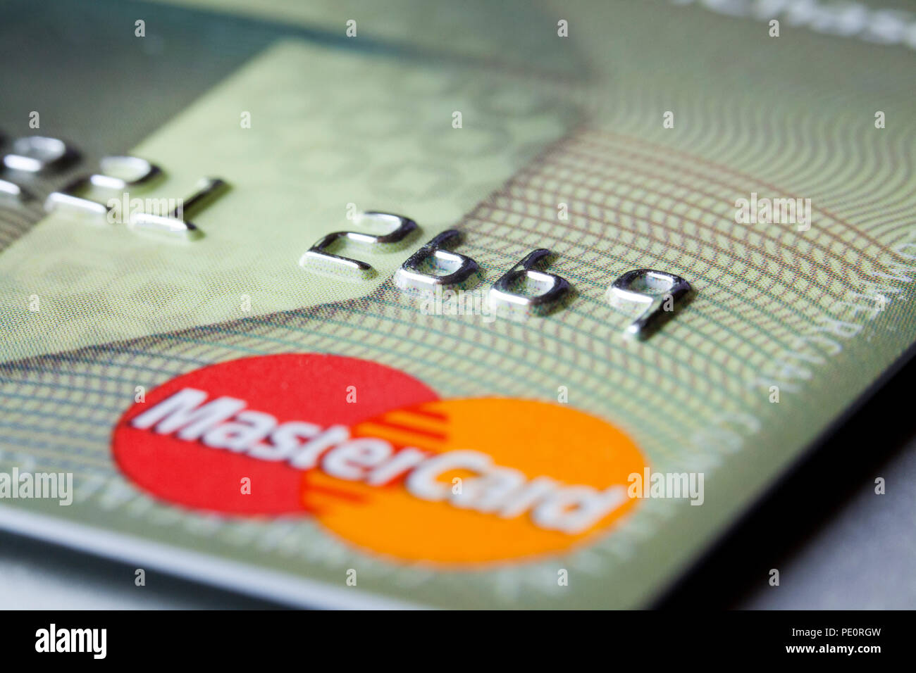 Master Card (MasterCard) credit card logo and last four digits closeup - USA - Stock Image