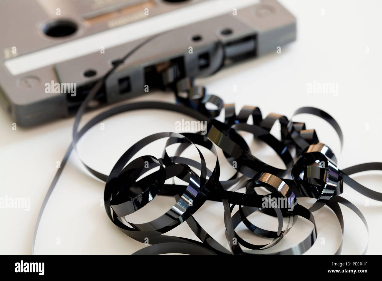 Compact audio cassette tape (aka compact cassette, music cassette) - USA Stock Photo