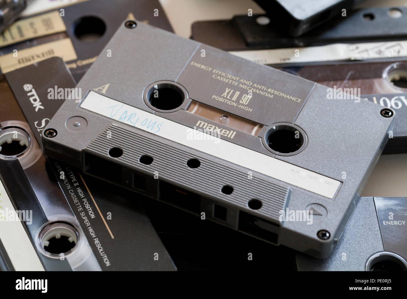 Compact audio cassette tape (aka compact cassette, music cassette) - USA - Stock Image