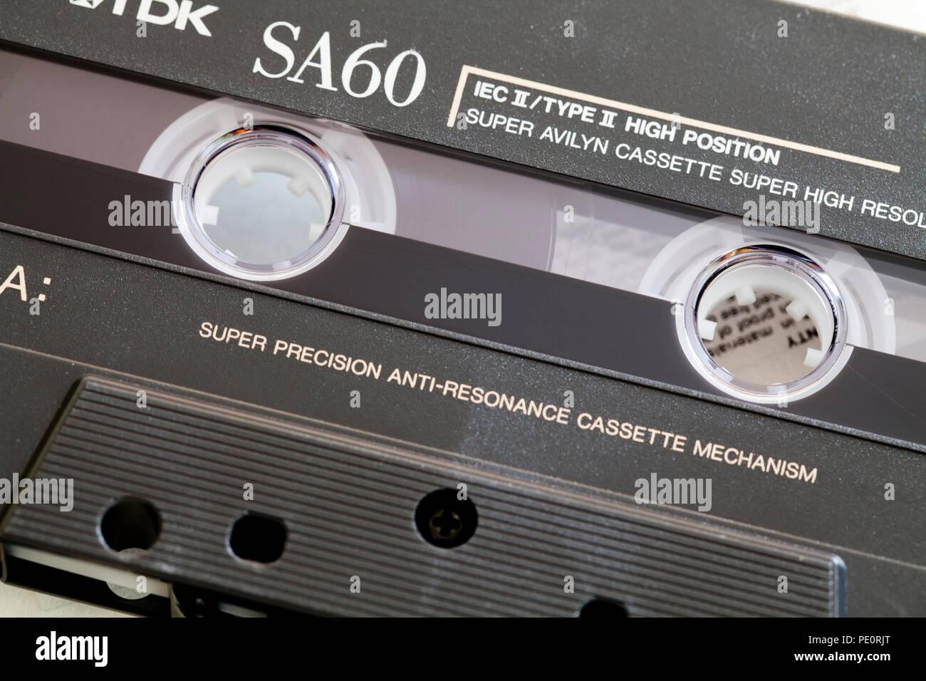 Compact audio cassette tape (aka compact cassette, music cassette) - USA Stock Photo