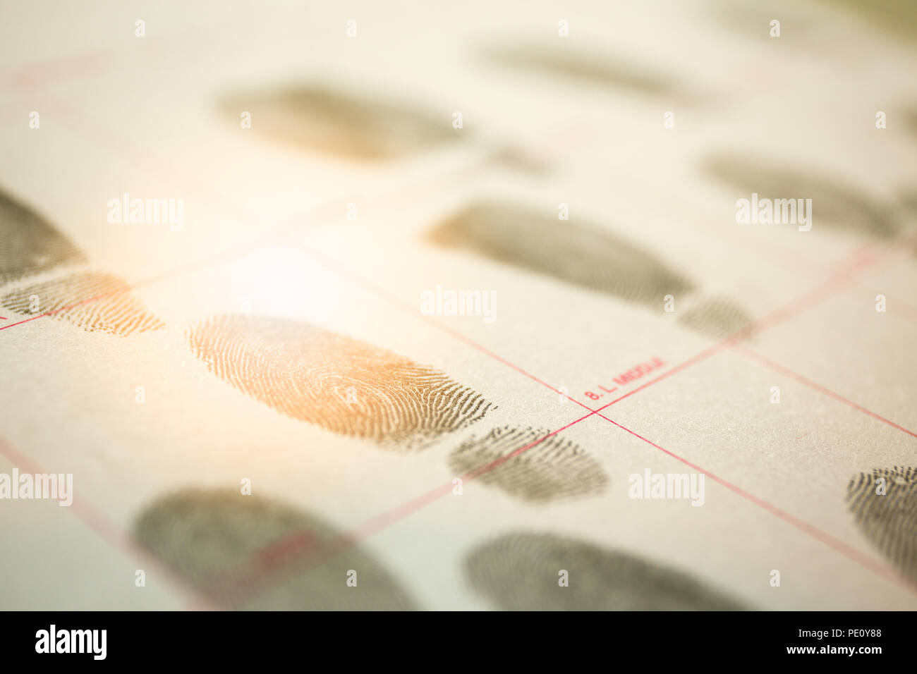 physiological biometrics concept of criminal record by suspect fingerprint for forensic science database with cinematic tone - Stock Image