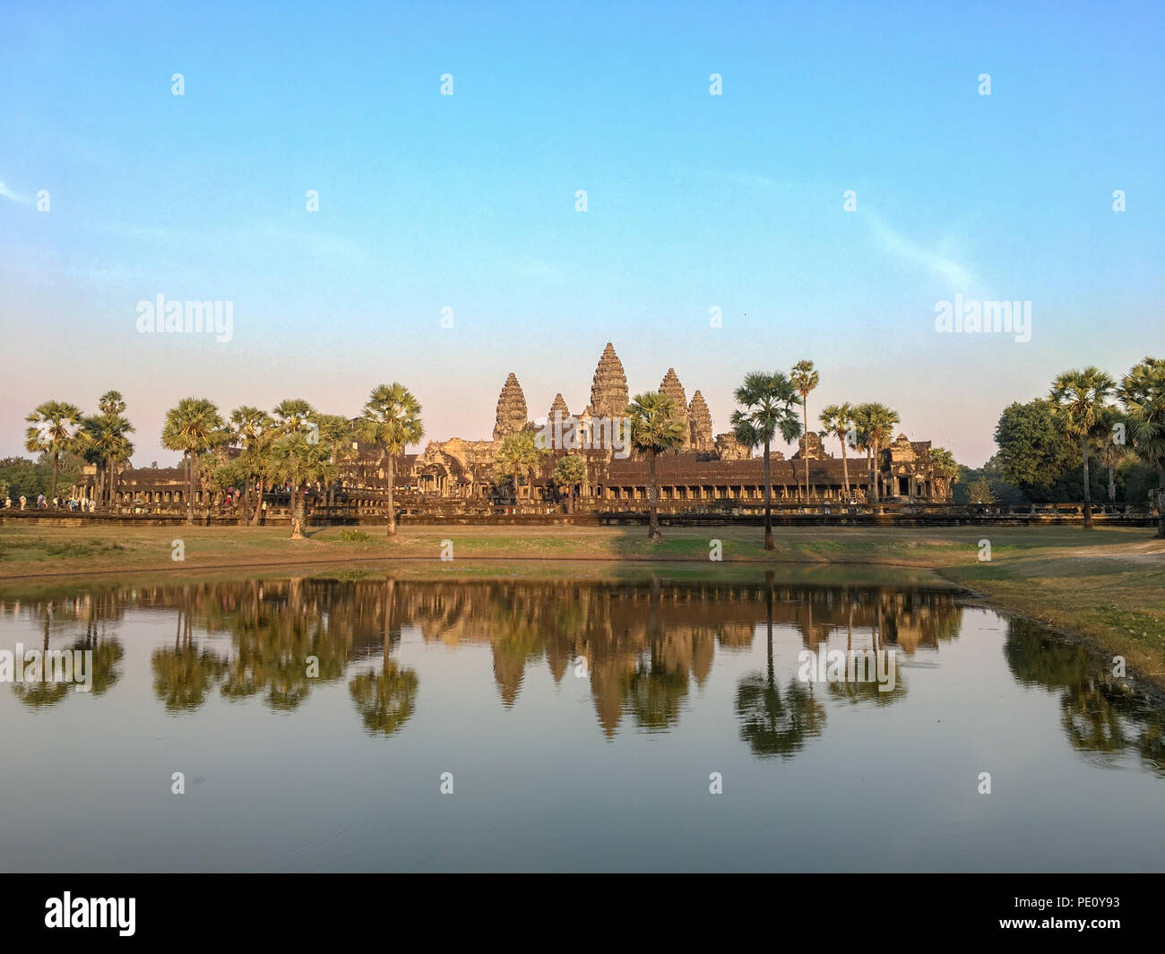 Angkor wat ,Khmer architecture and the world heritage at Siem Reap Cambodia with water reflect at sunset - Stock Image
