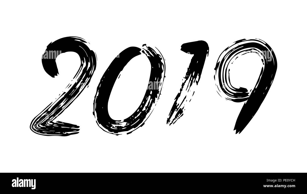 2019 sign vector grunge calligraphy happy new year flyer poster card brochure design black numbers isolated on white background illustration