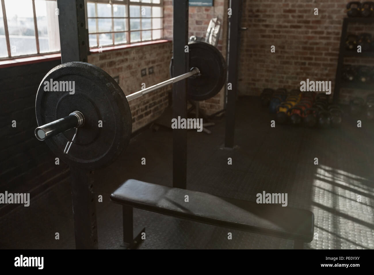 Barbell in the fitness studio - Stock Image