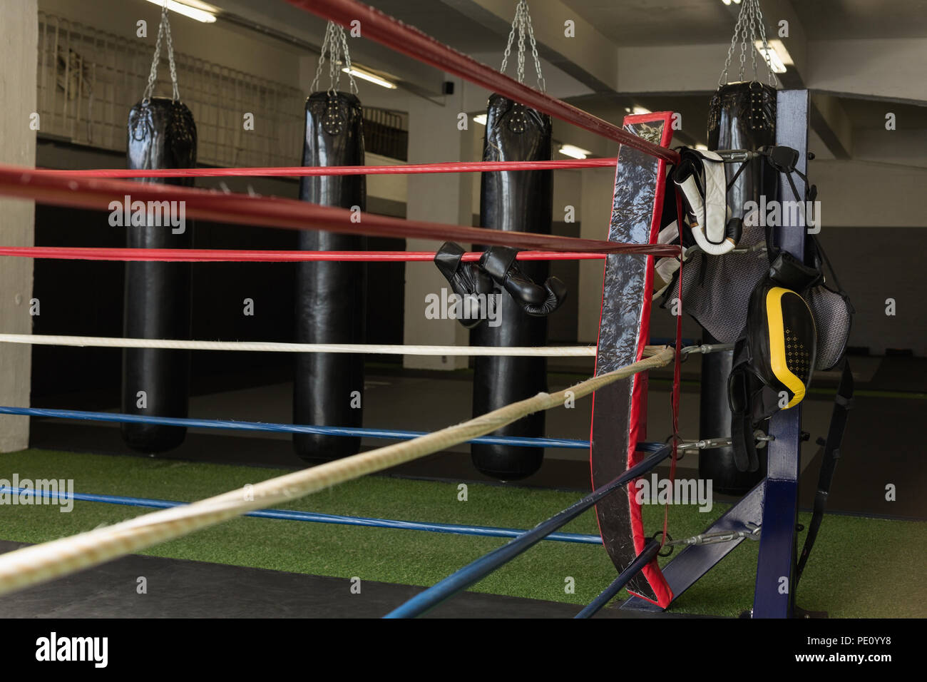 Punching bag and boxing equipments on the boxing ring - Stock Image