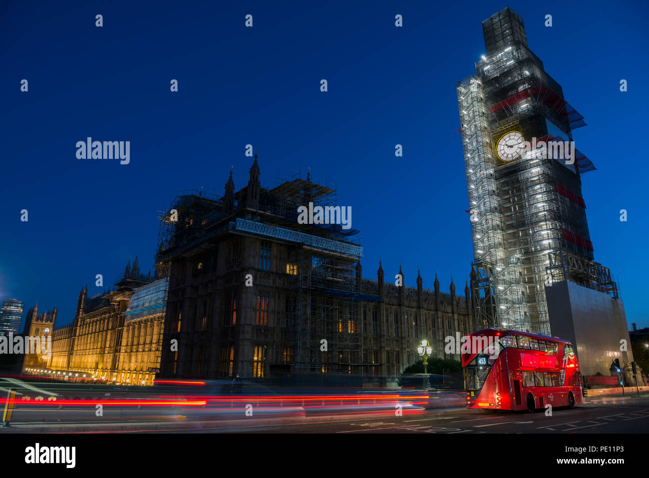 Big Ben renovation works on Parliament's bell, clock and tower, London, United Kingdom. Stock Photo