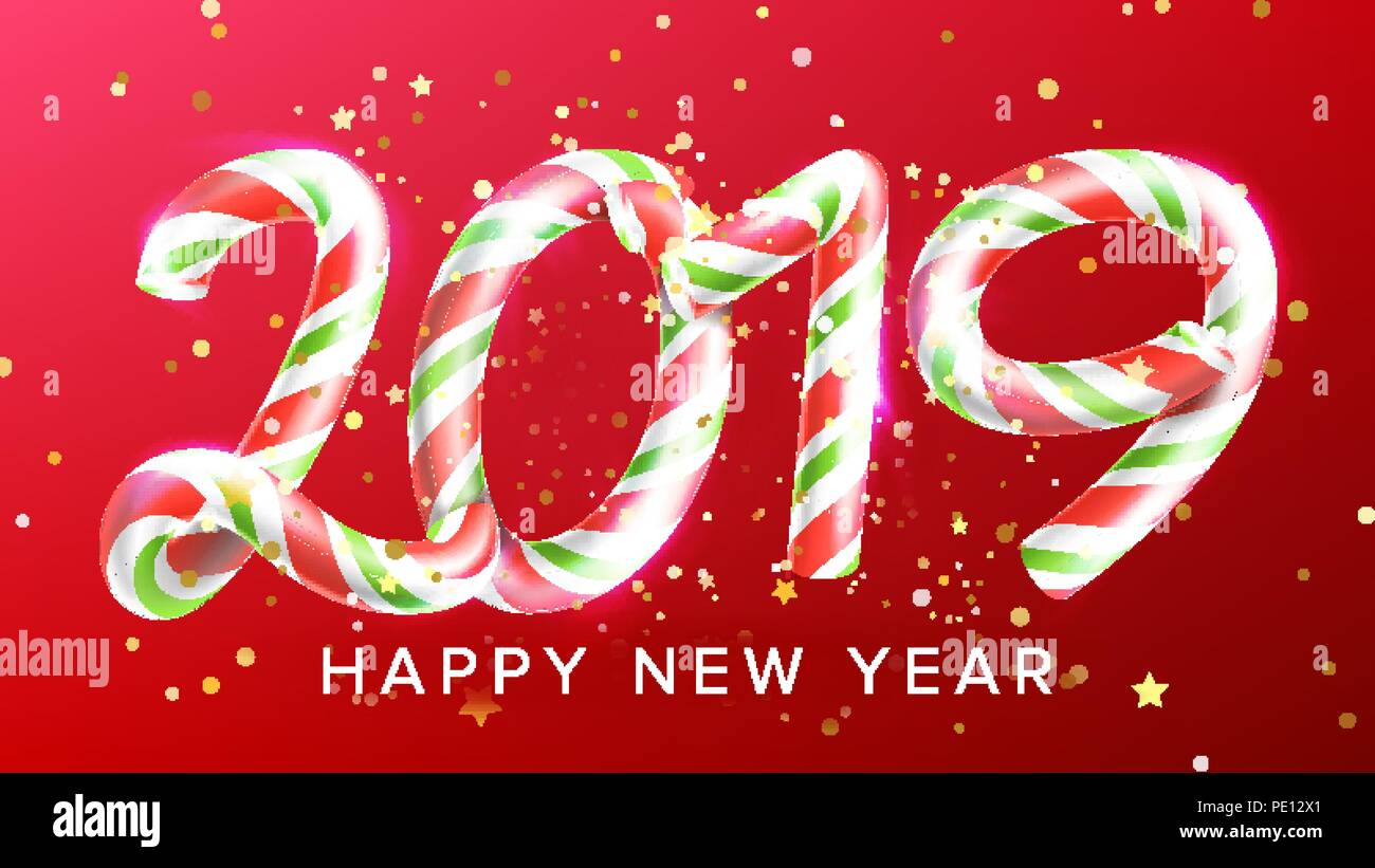 2019 happy new year background vector numbers 2019 christmas realistic sign classic xmas red colours 3d candy cane new year poster greeting card