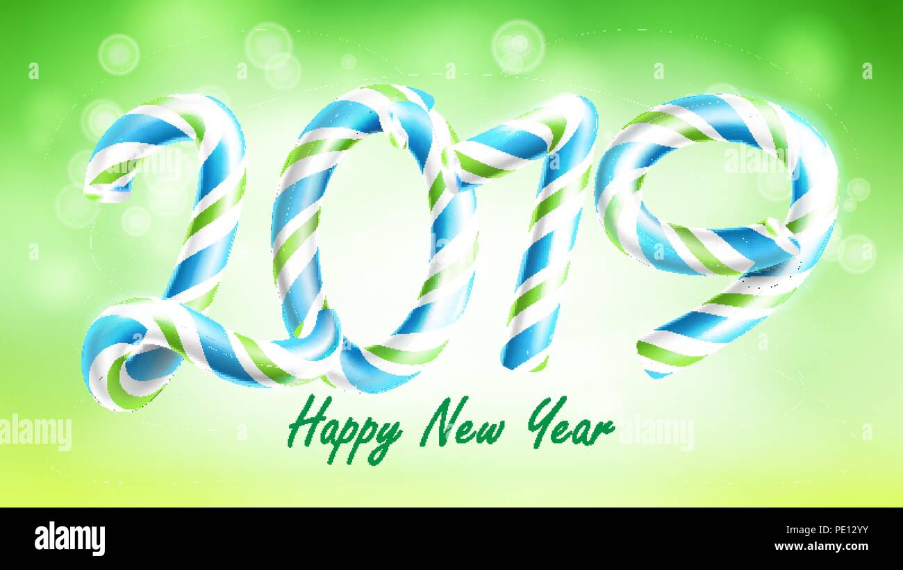 2019 happy new year background vector numbers 2019 christmas colours green classic xmas 3d candy cane new year poster greeting card brochure flyer