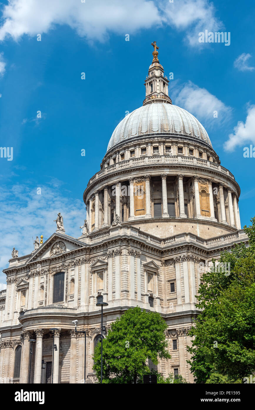 The imposing St. Pauls Cathedral in London on a sunny day - Stock Image