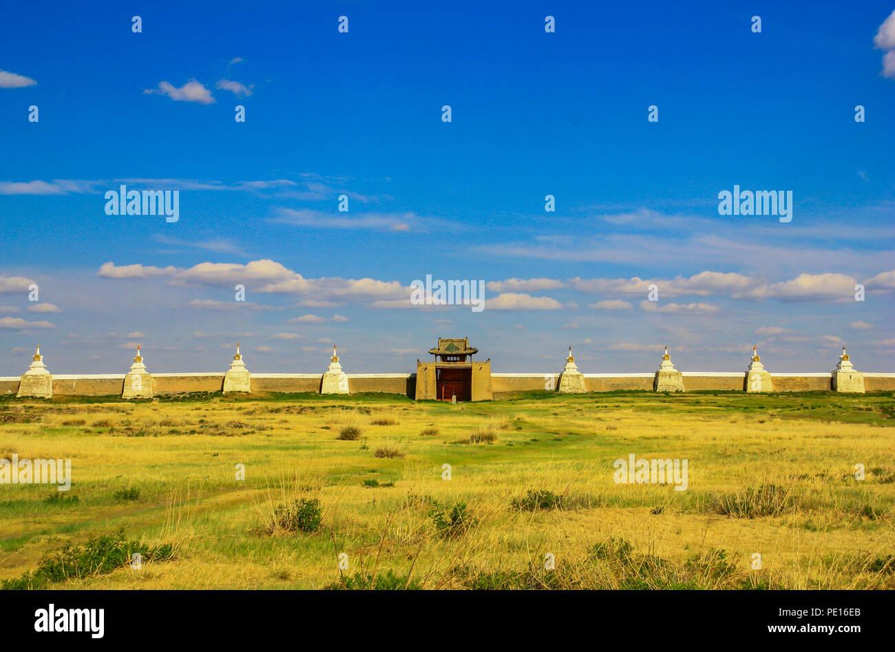 Erdene Zuu Monastery, Mongolia - the earliest surviving Buddhist monastery in Mongolia, the Erdene Zuu Monastery is located close to Karakorum - Stock Image