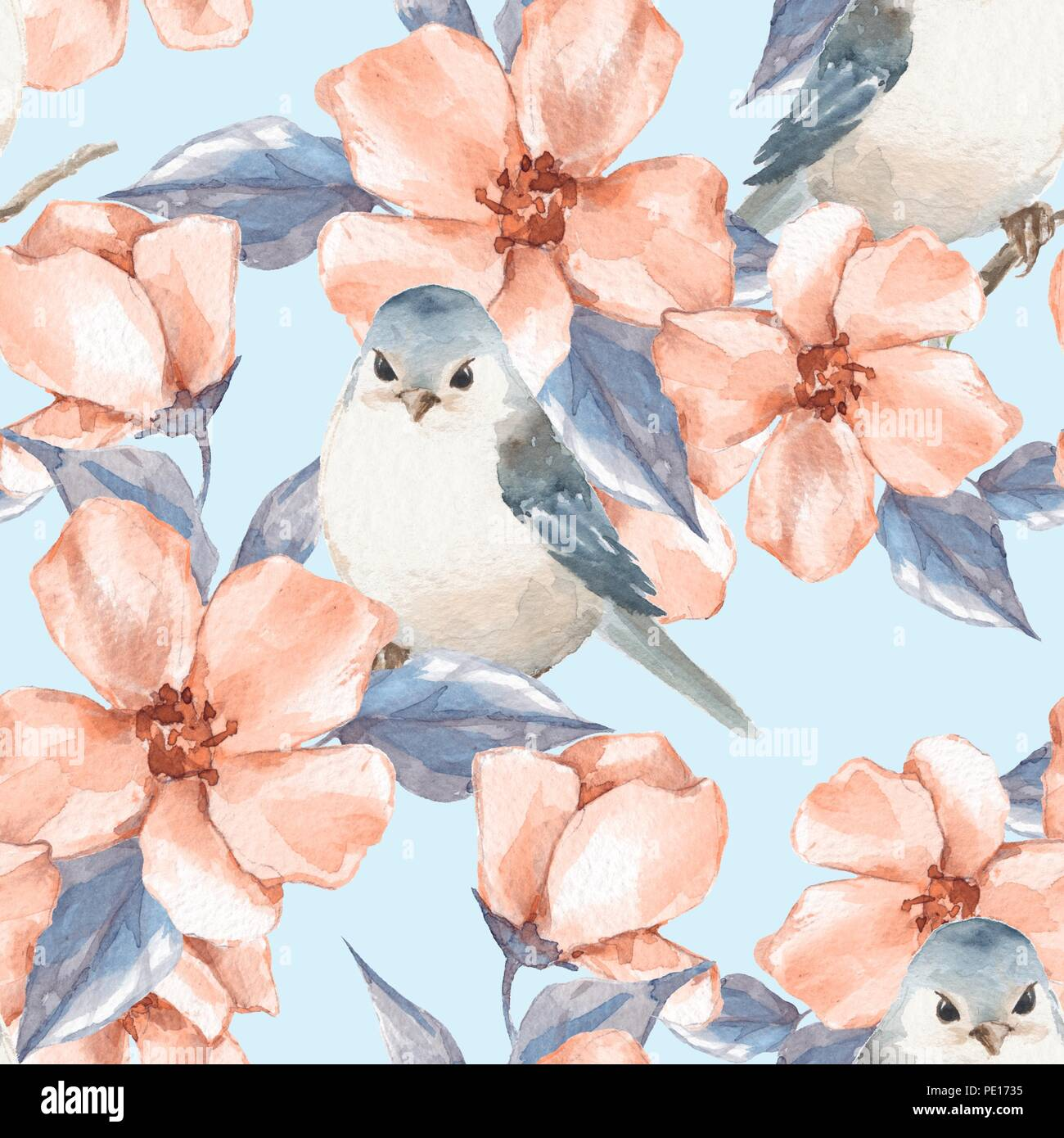 Spring Flowers And Birds Watercolor Floral Seamless Pattern Stock