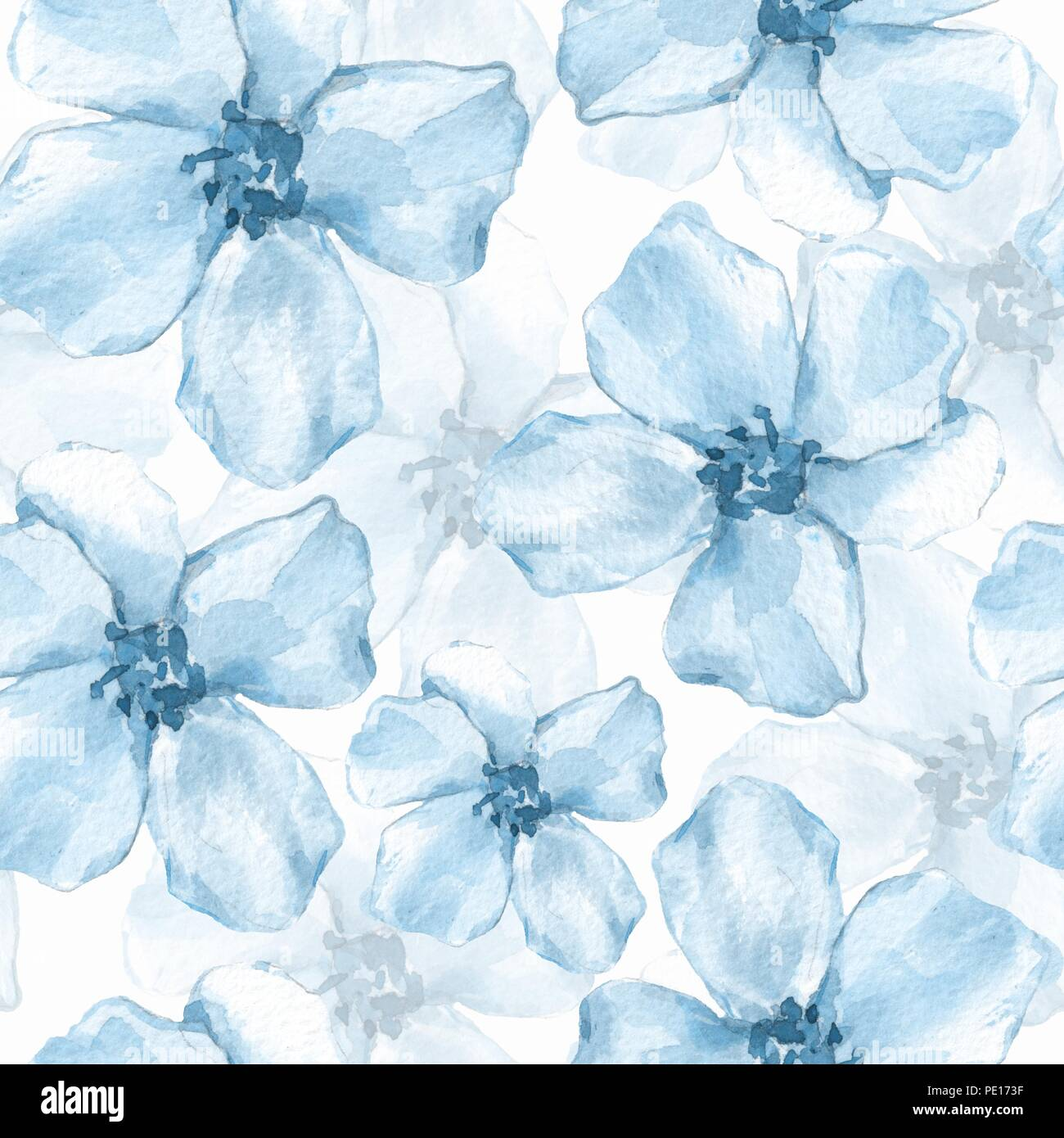 Floral Seamless Pattern Watercolor Background With Delicate Blue