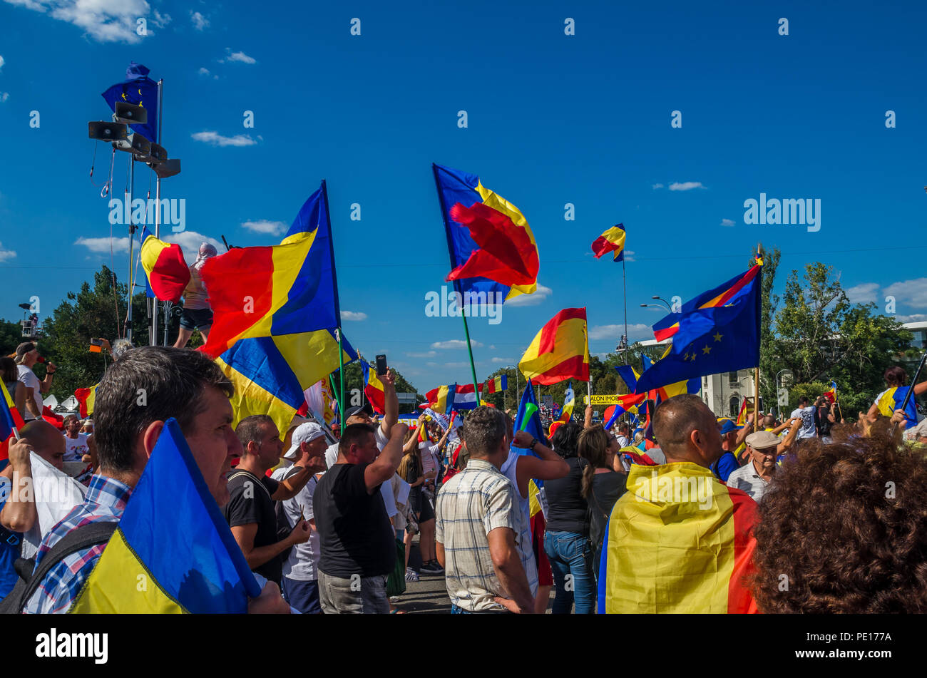 Bucharest, Romania - August 10, 2018: Anti-government protesters in Bucharest, Romania. Stock Photo