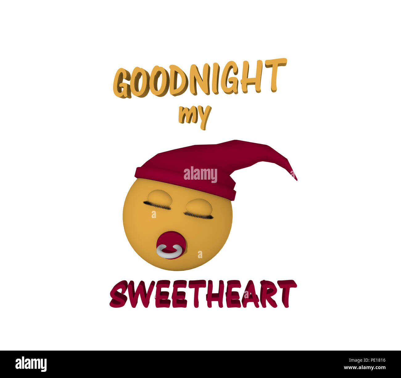 Emoticon with sleepyhead, pacifier and text. 3d rendering - Stock Image