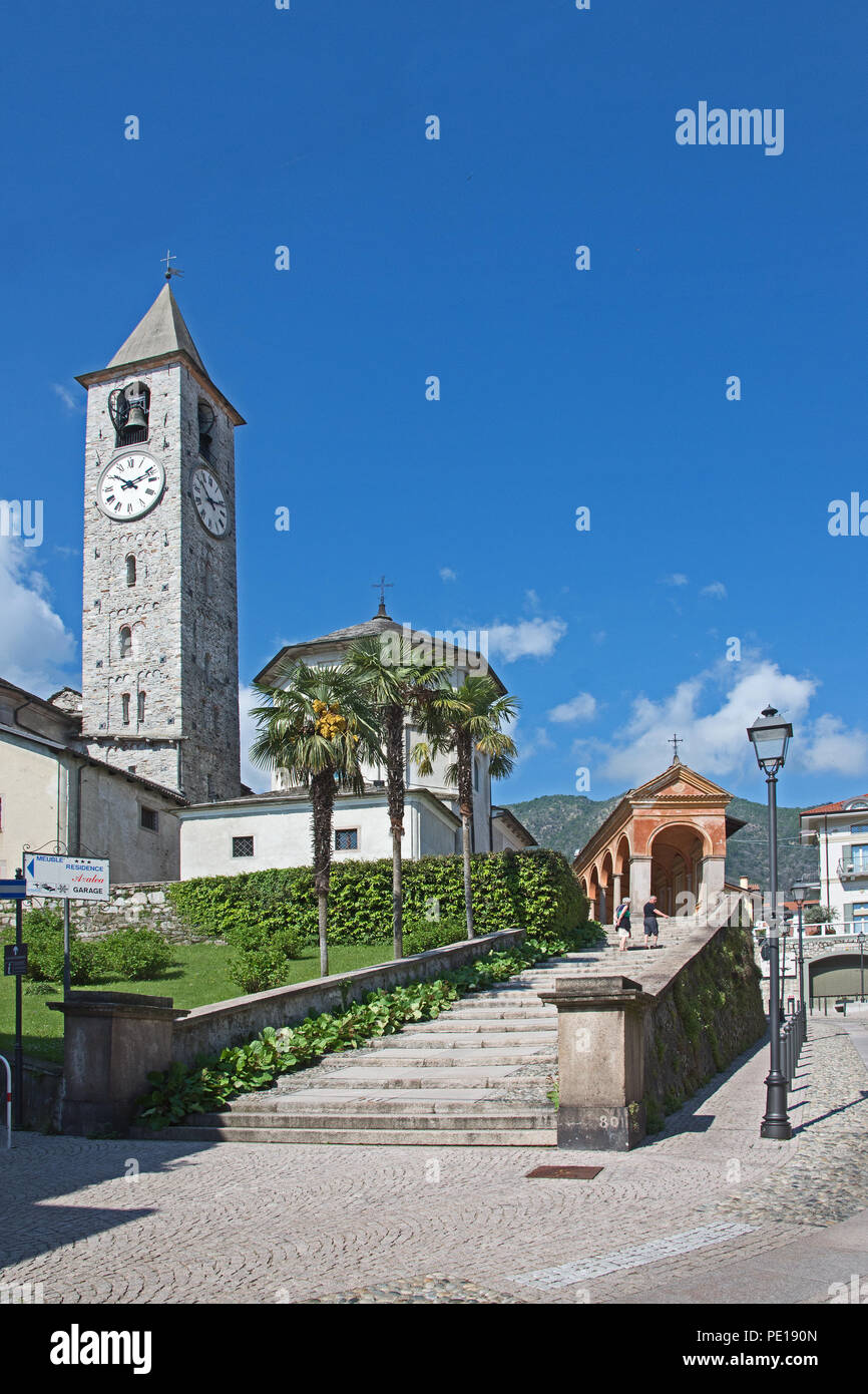 Staircase leading to Clock and bell tower of Church of Saints Gervaso and Protaso in Baveno on Lake Maggiore Italy Stock Photo