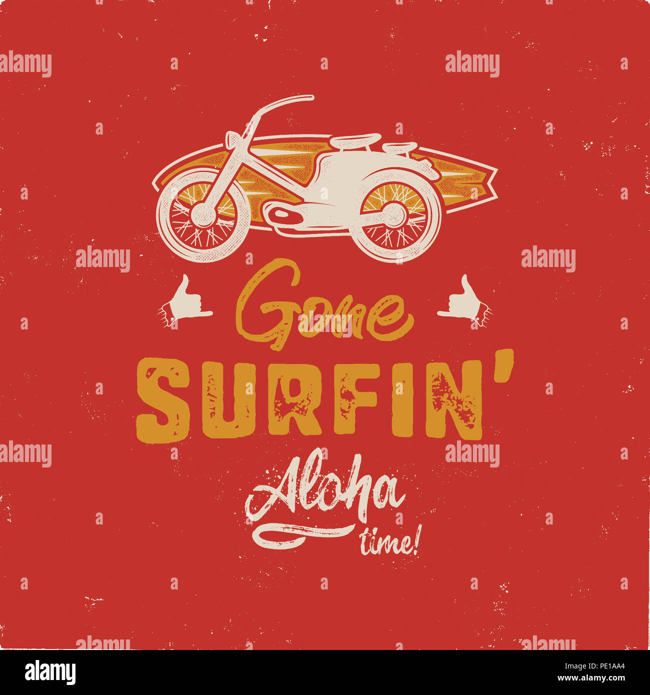 Vintage hand drawn summer T-Shirt. Gone surfing - aloha time with surf old motorcycle and shaka sign. Perfect for tee, mug or any other prints. Stock  - Stock Image