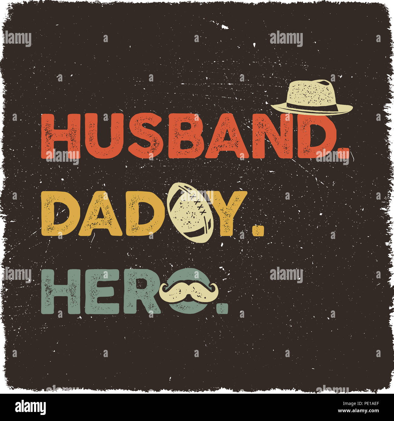 Husband Daddy Hero T Shirt Retro Colors Design Happy Fathers Day