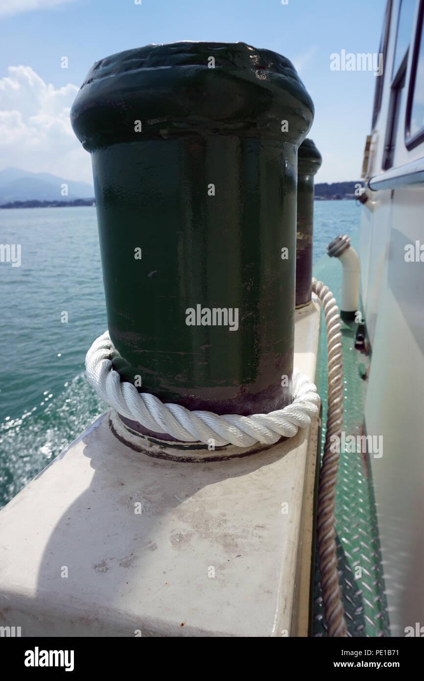 two green pollard at ship - Stock Image
