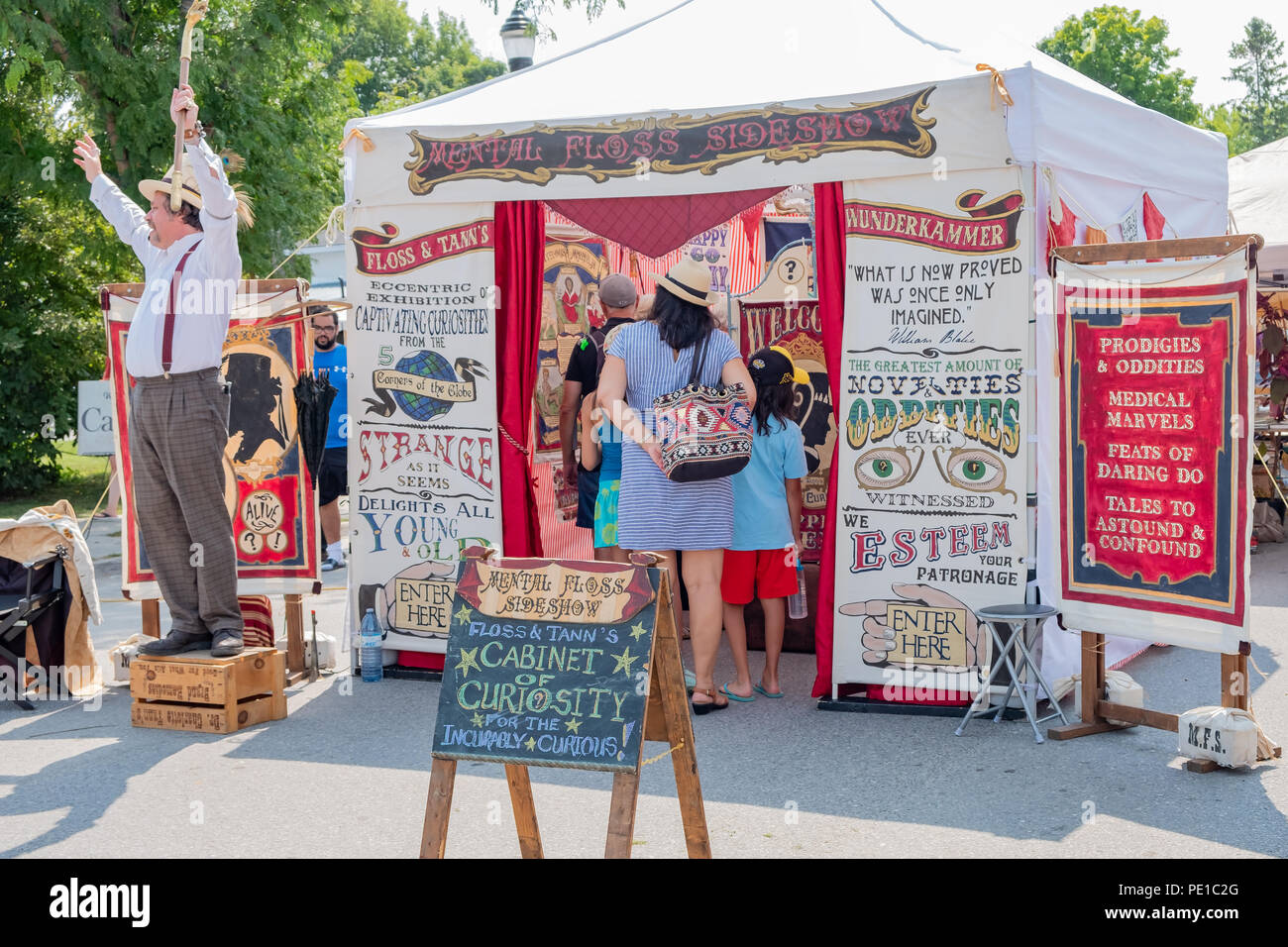 Old time Victorian style side show at the annual Steampunk Festival in Coldwater Ontario. Stock Photo
