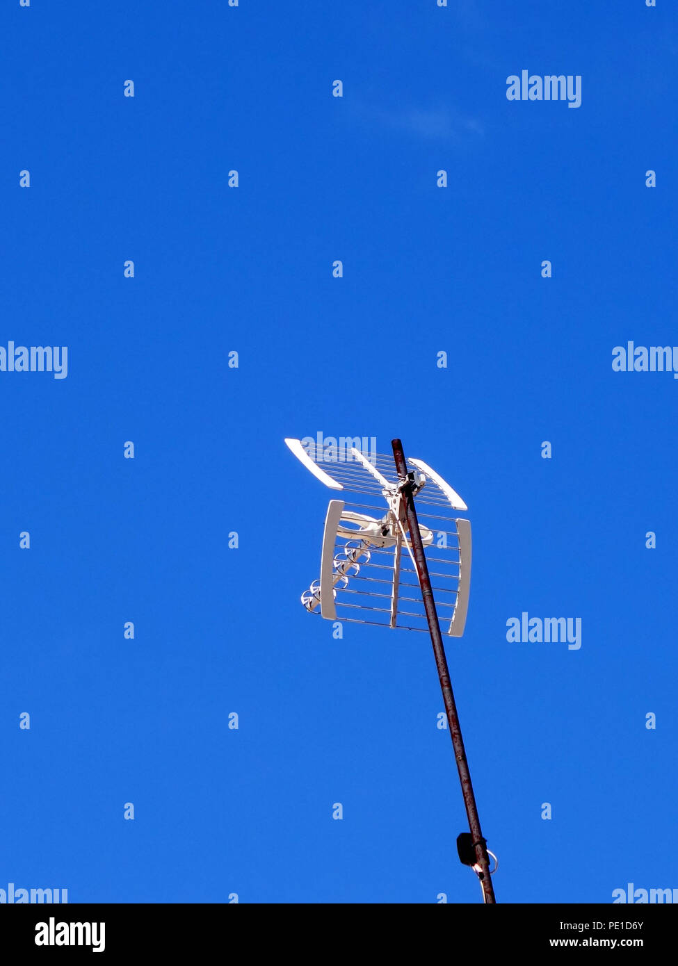 TV aerial on a house roof in Cessenon-sur-Orb, France - Stock Image