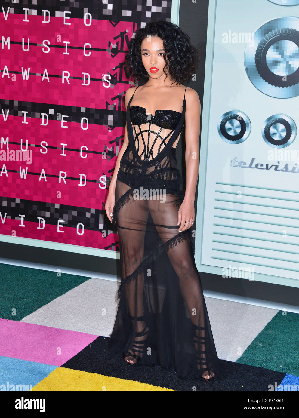 FKA Twigs 403  at the MTV VMA Awards 2015 at the Microsoft Theatre in Los Angeles. August 30, 2015.FKA Twigs 403  Event in Hollywood Life - California, Red Carpet Event, USA, Film Industry, Celebrities, Photography, Bestof, Arts Culture and Entertainment, Topix Celebrities fashion, Best of, Hollywood Life, Event in Hollywood Life - California, Red Carpet and backstage, movie celebrities, TV celebrities, Music celebrities, Topix, Bestof, Arts Culture and Entertainment, vertical, one person, Photography,   Fashion, full length, 2015 inquiry tsuni@Gamma-USA.com , Credit Tsuni / USA, - Stock Image