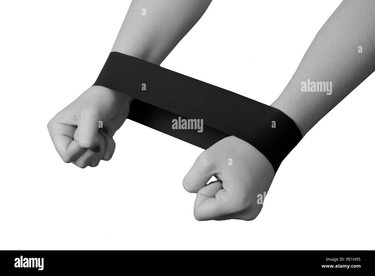 Close-up isolated green sport strap for stretching. - Stock Image