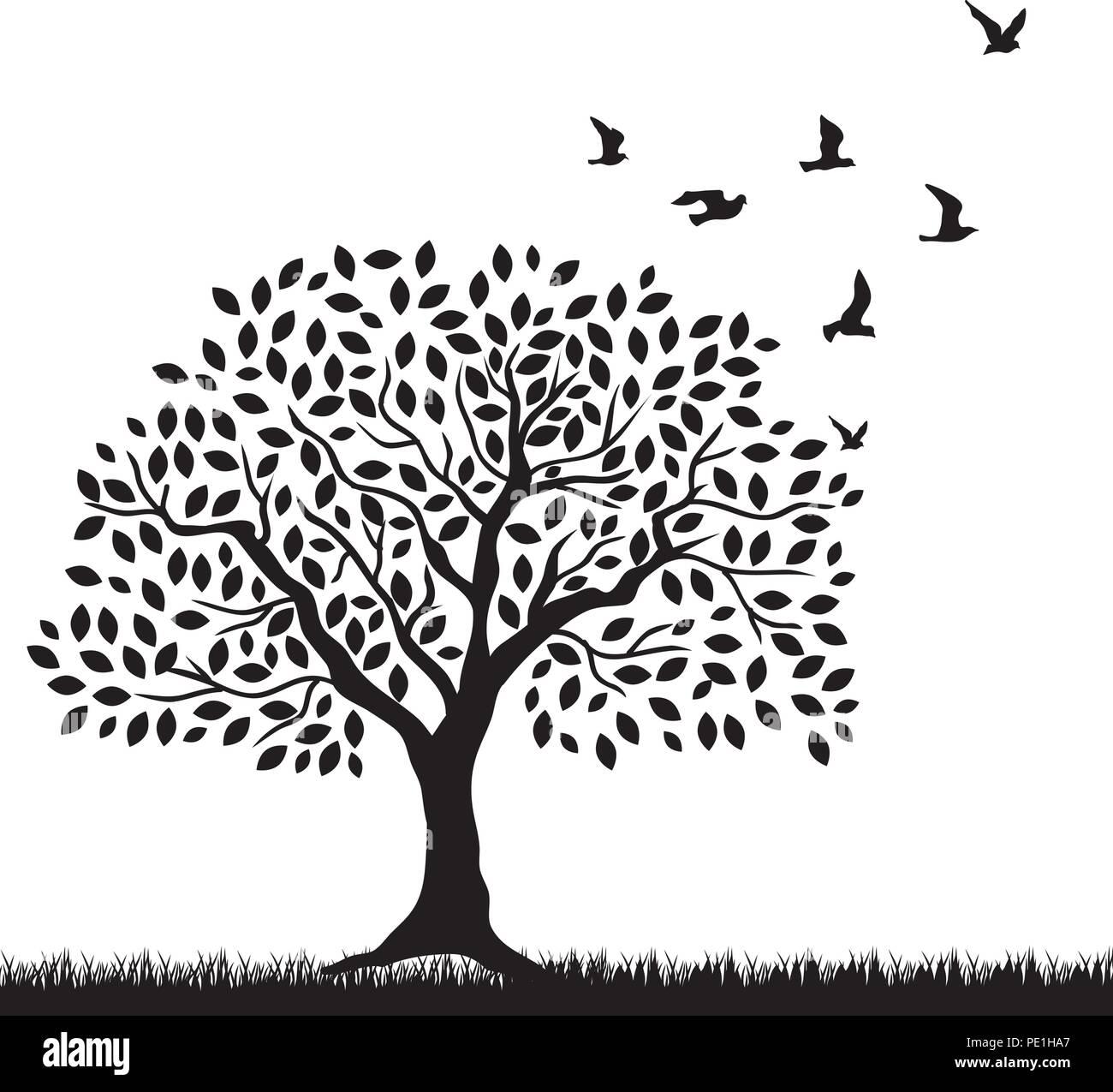 tree and birds - Stock Vector