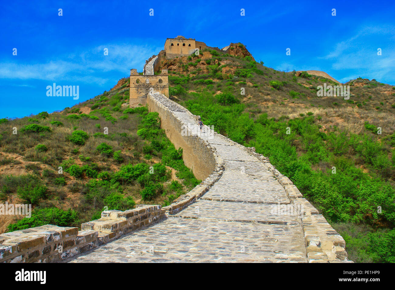 Jinshanling, China - probably the most famous landmark in China, the Great Wall runs for about 9.000 km - Stock Image