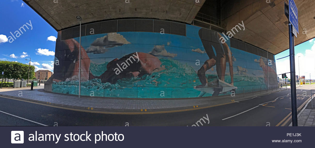 The Swimmer,Smug panorama,mural,Glasgow,Scotland, UK, by Sam Bates - Stock Image