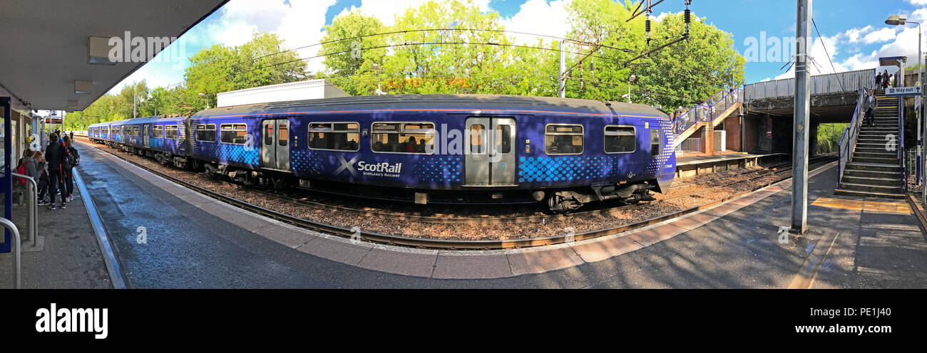 Scotrail train at Hamilton West rail station, South Lanarkshire, Scotland , UK - Stock Image