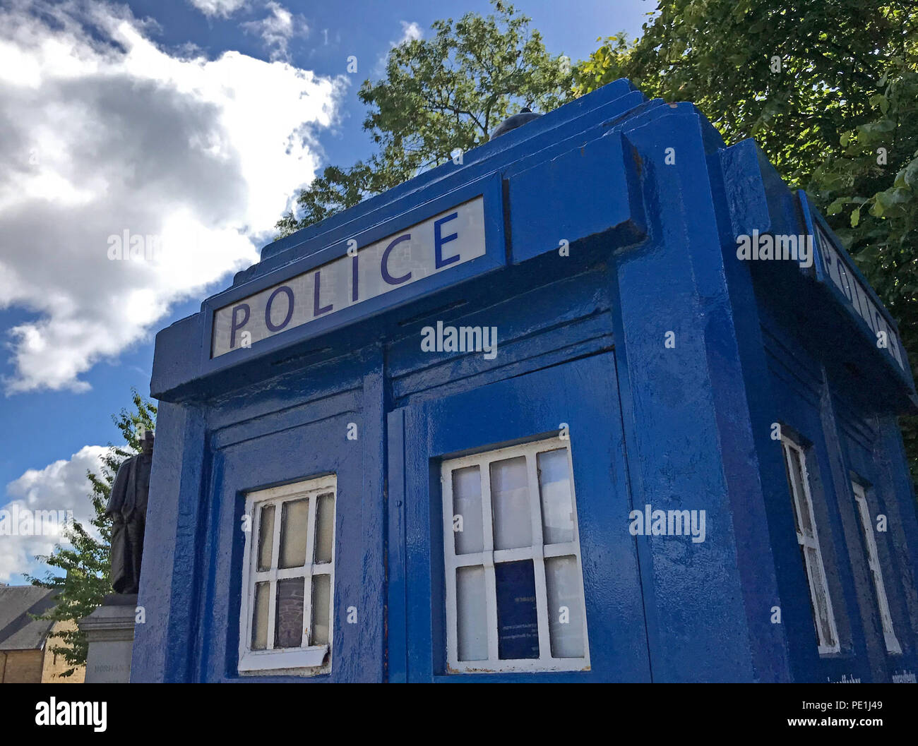 Blue police call box, Tardis, Glasgow,Scotland, UK - Stock Image