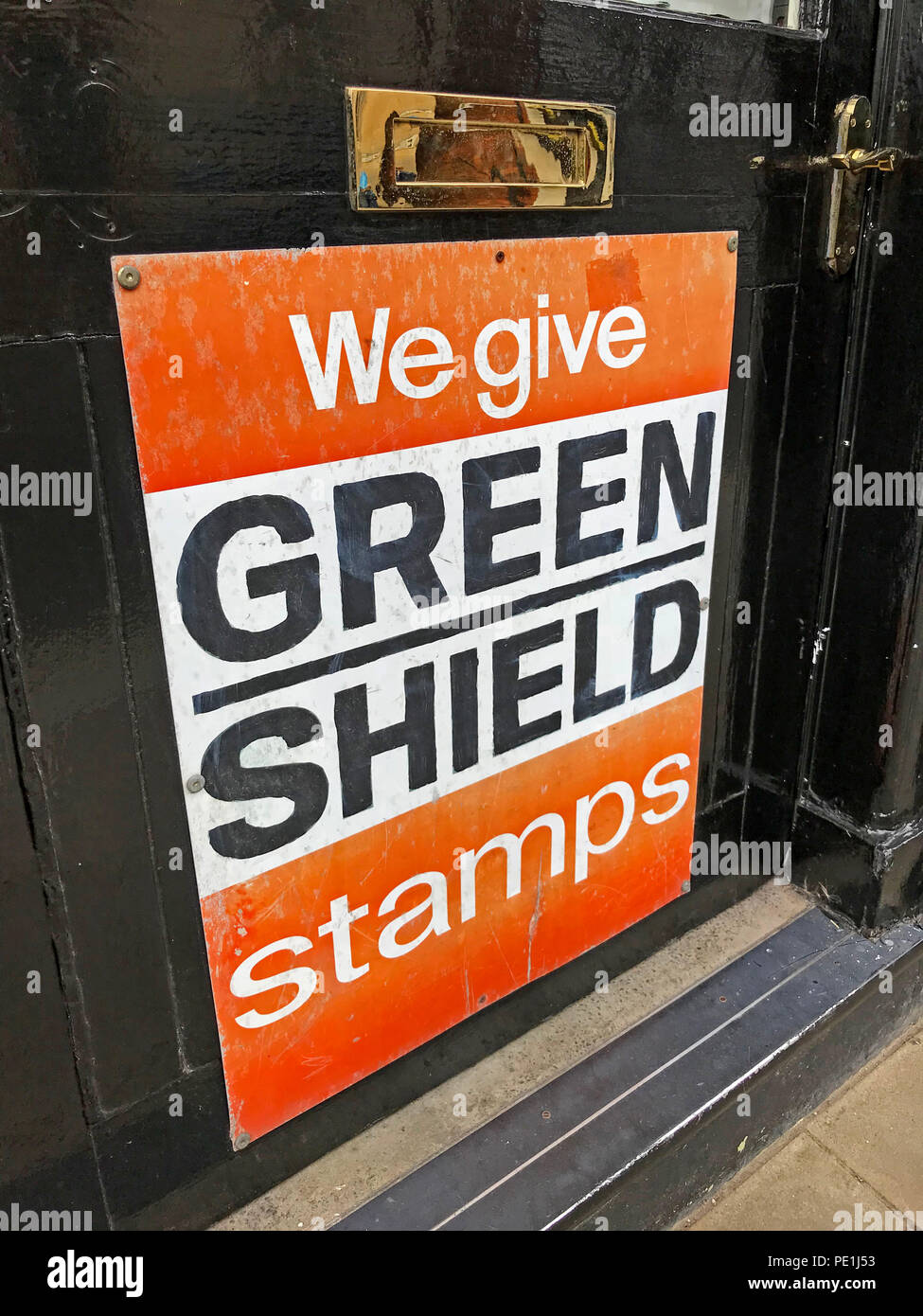 We Give Green Shield stamps sign, Tewkesbury, Gloucester,  Gloucestershire, England, UK - Stock Image
