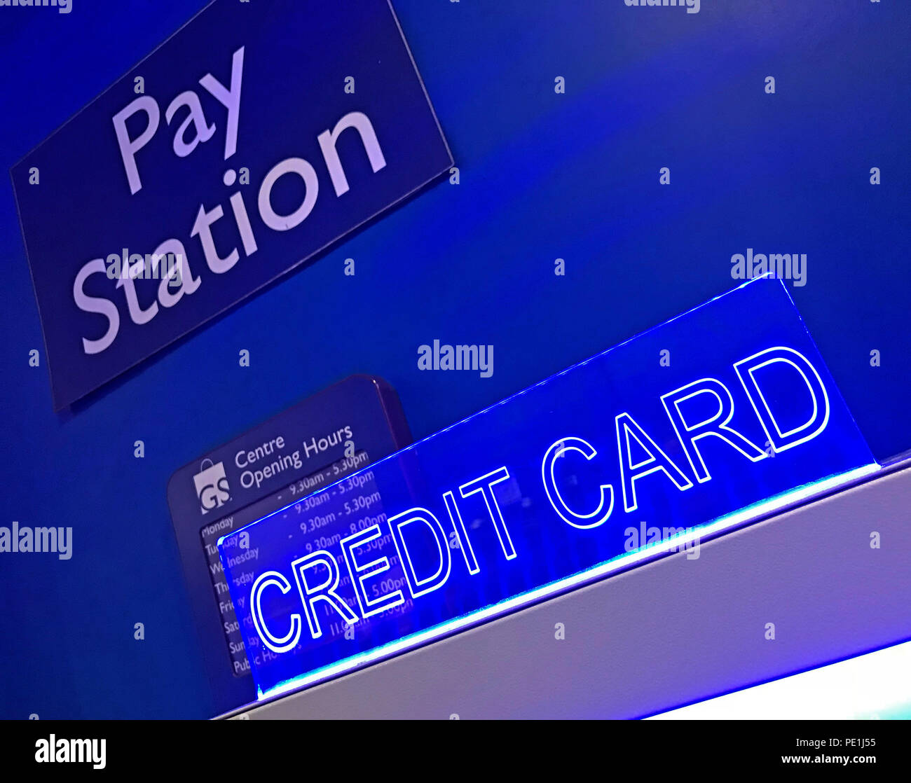 Pay Station Credit Card - Parking Payment Machine - Stock Image