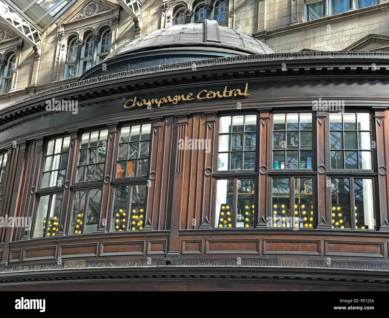 Champagne Central bar, Gordon St, Glasgow, Scotland UK - Stock Image