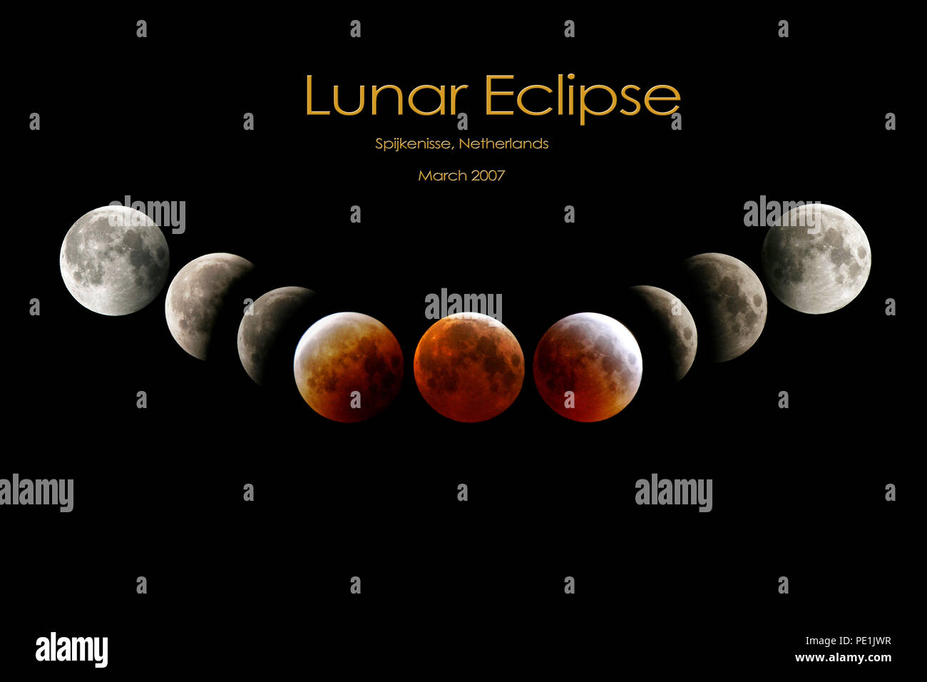 Total lunar eclipse compilation of March 3 2007 moon eclipse in Europe , The Netherlands - Stock Image