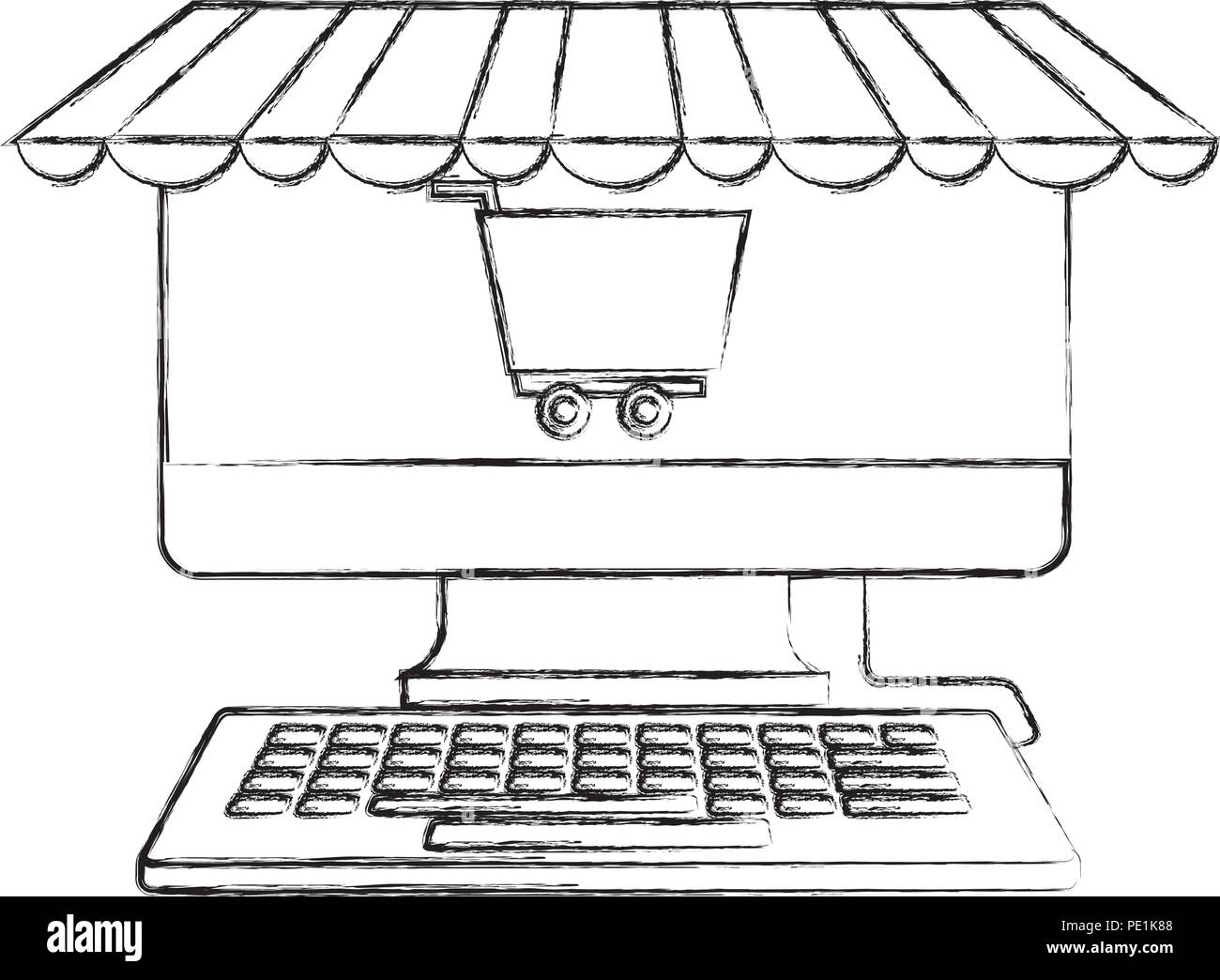 Computer Keyboard Shopping Cart Business Buy Online Vector Illustration Hand Drawing Stock Vector Image Art Alamy