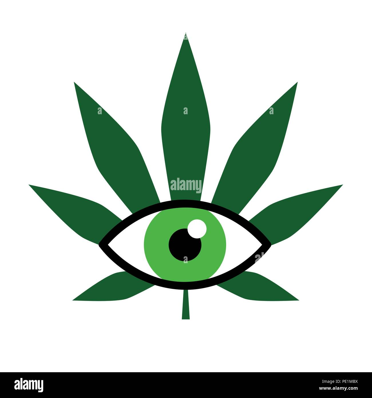 cannabis for medical use ophthalmology vector illustration EPS10 - Stock Image