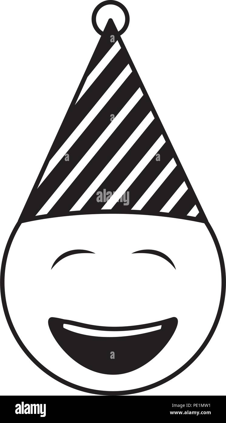 Birthday Face Closed Eyes Emoji Party Hat Vector Illustration