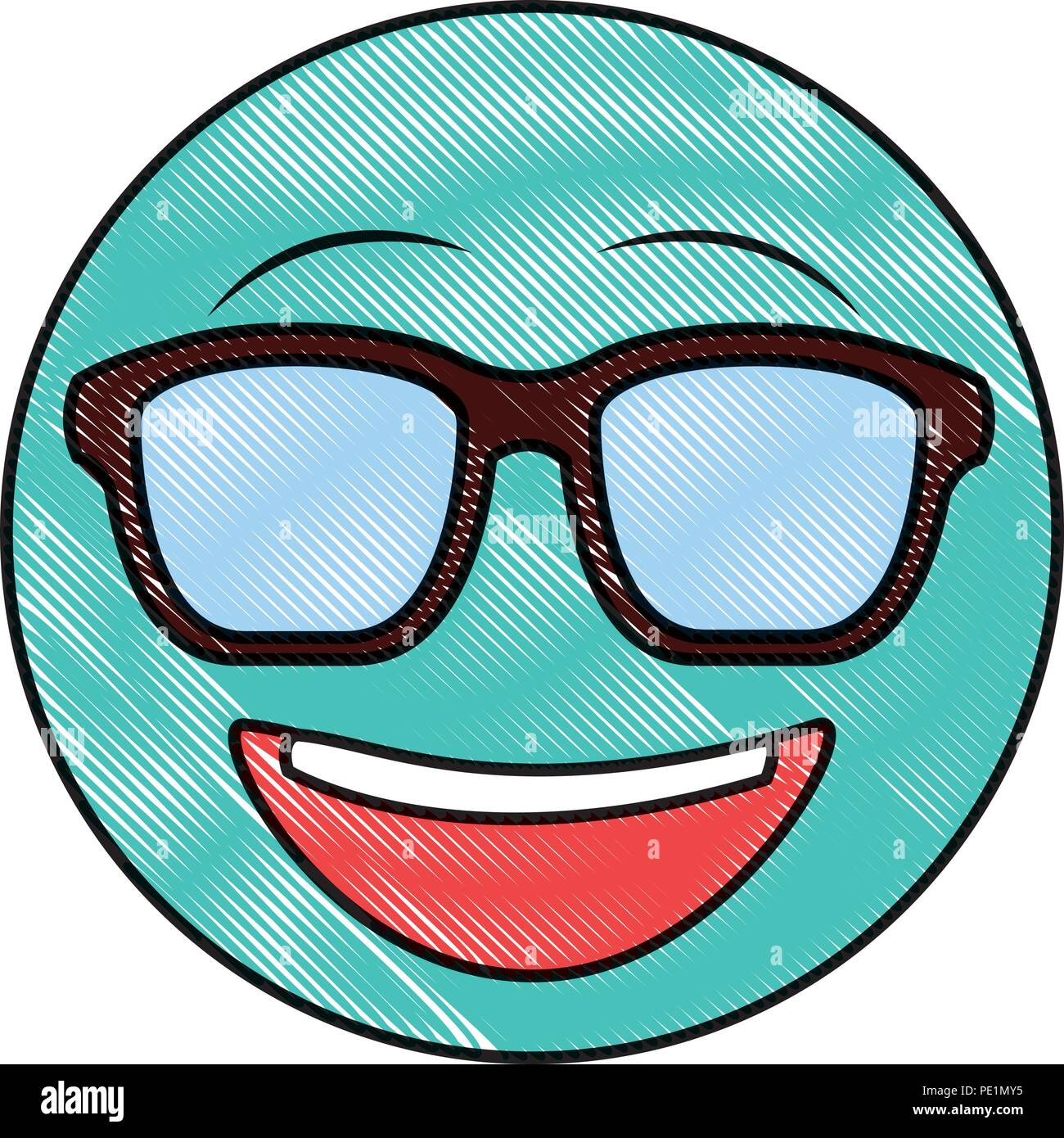 91a7d38375e7 big smiley emoticon with sunglasses drawing color image Stock Vector ...
