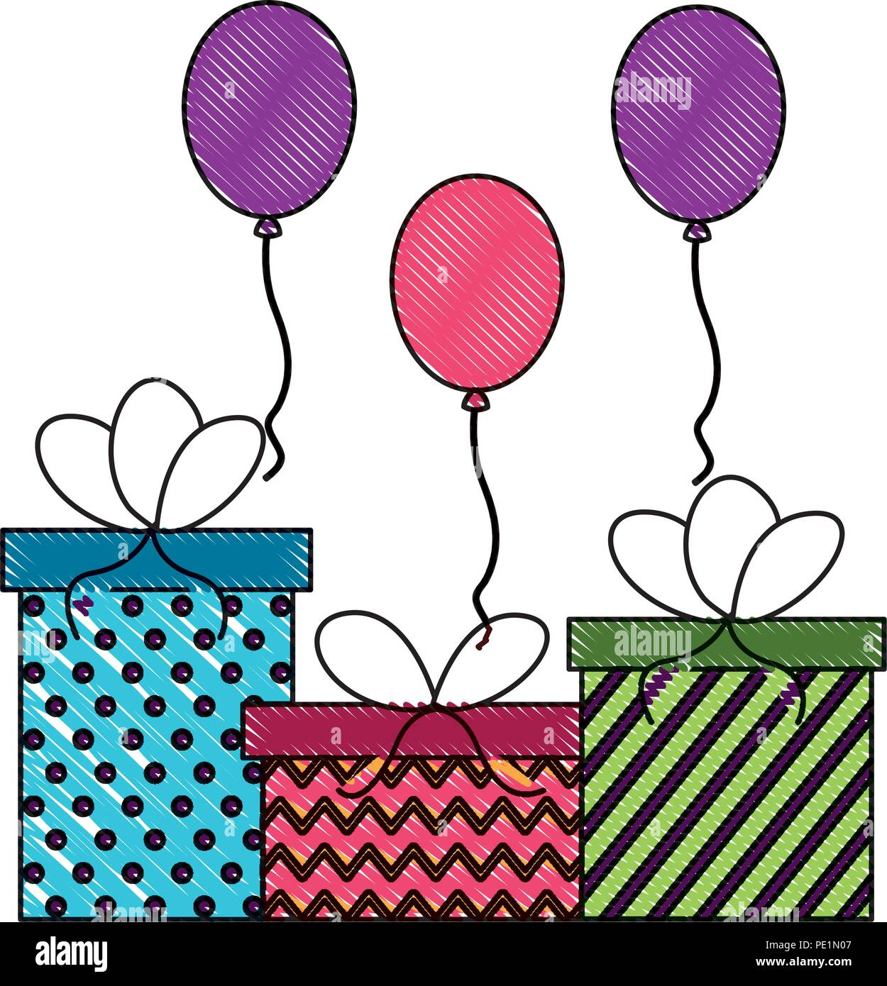 Birthday Gift Boxes With Balloons Decoration Drawing