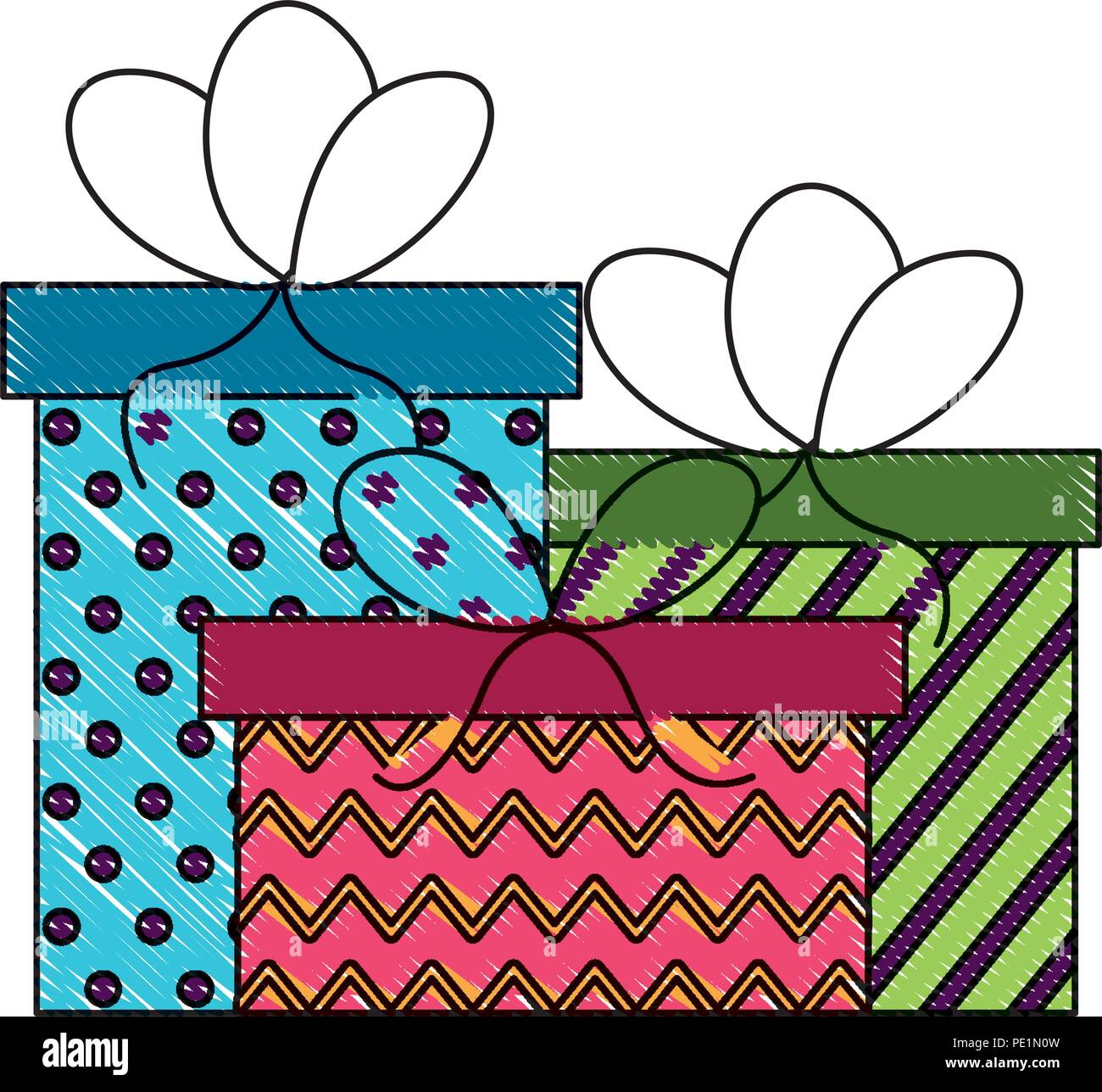 Birthday Gift Boxes With Bow Decoration Drawing Stock Vector Art