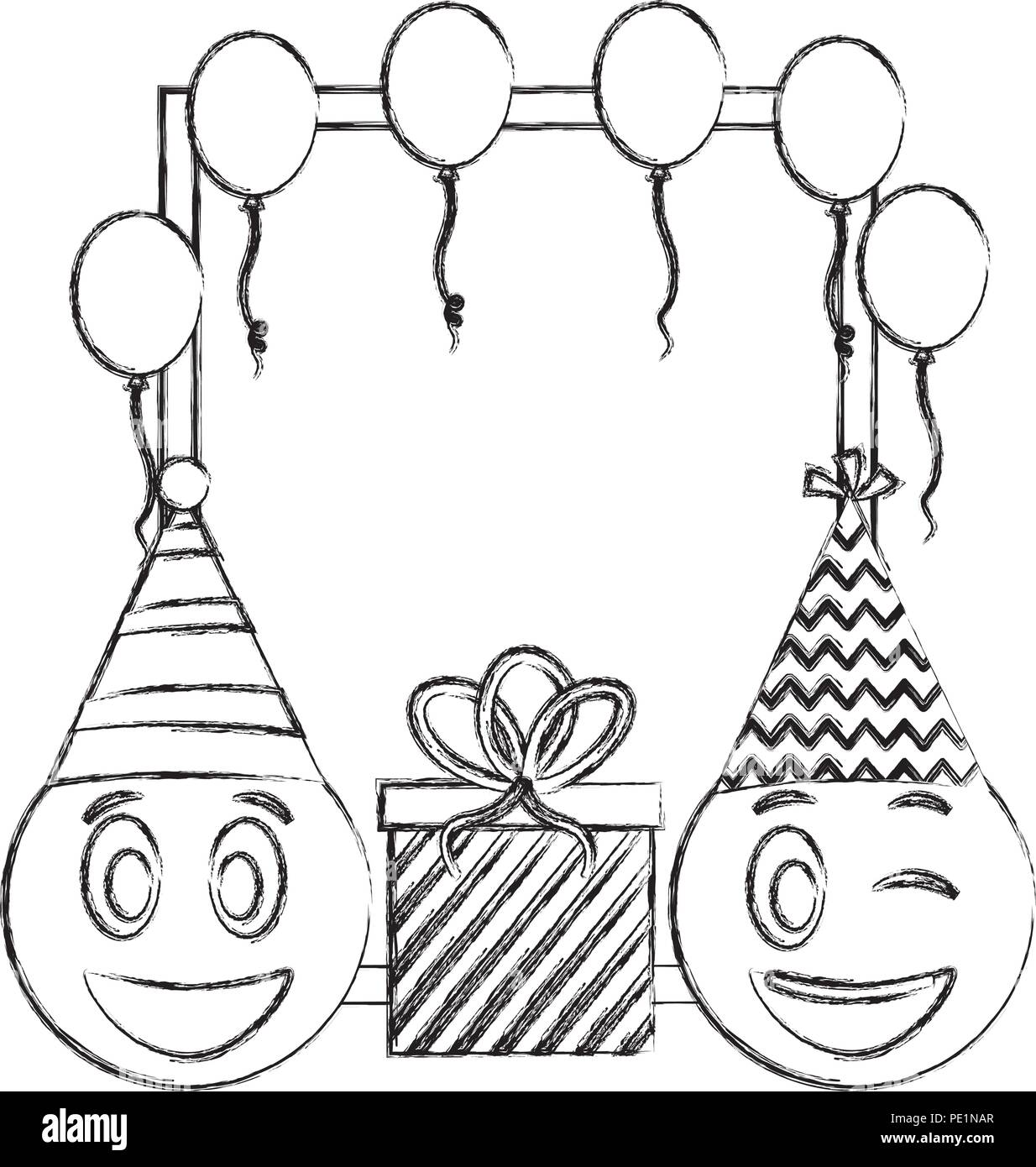 Birthday Emoticon Faces Gift And Frame Balloons Hand Drawing Design
