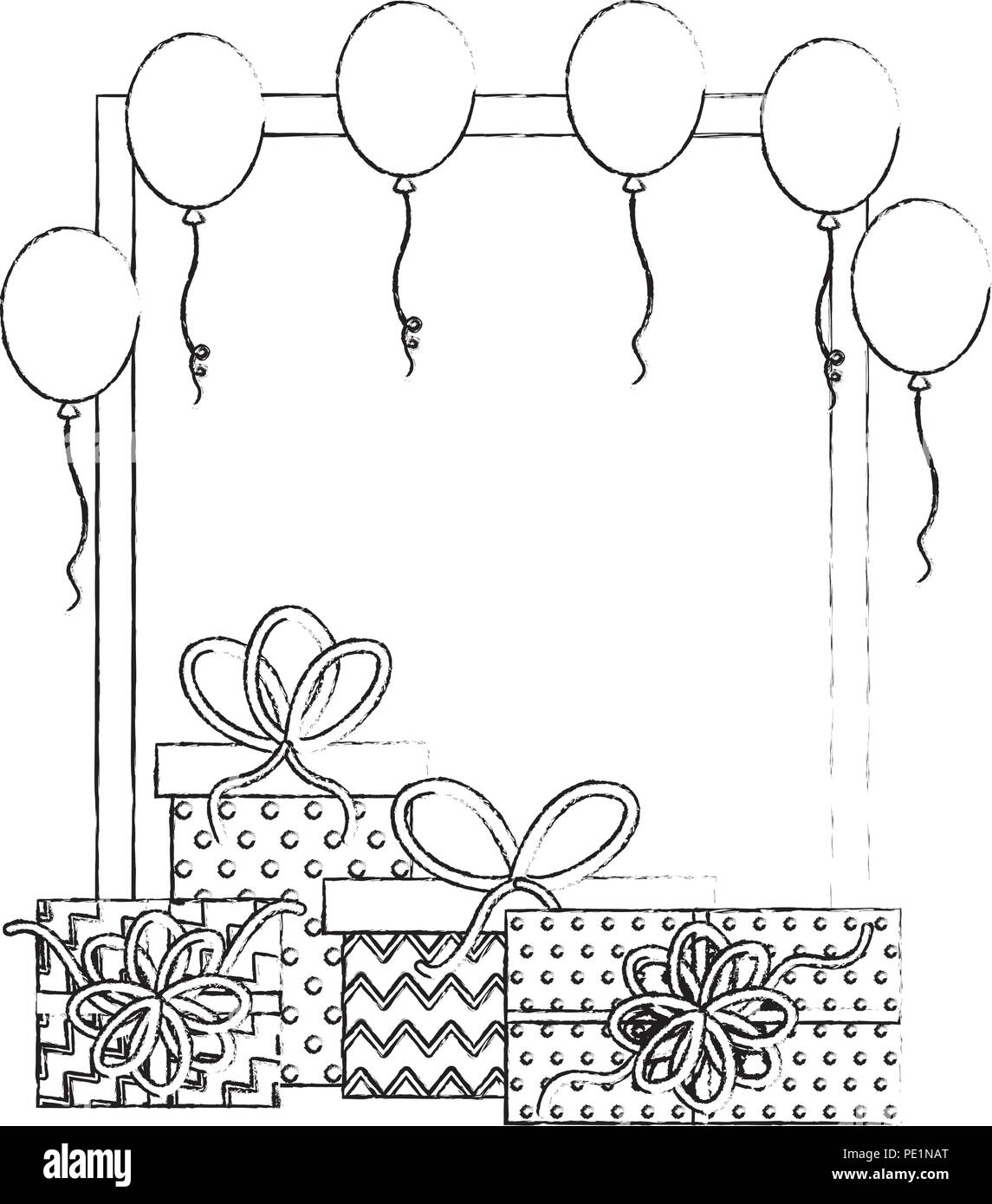 Birthday Gift Boxes Balloons Frame Decoration Hand Drawing Design