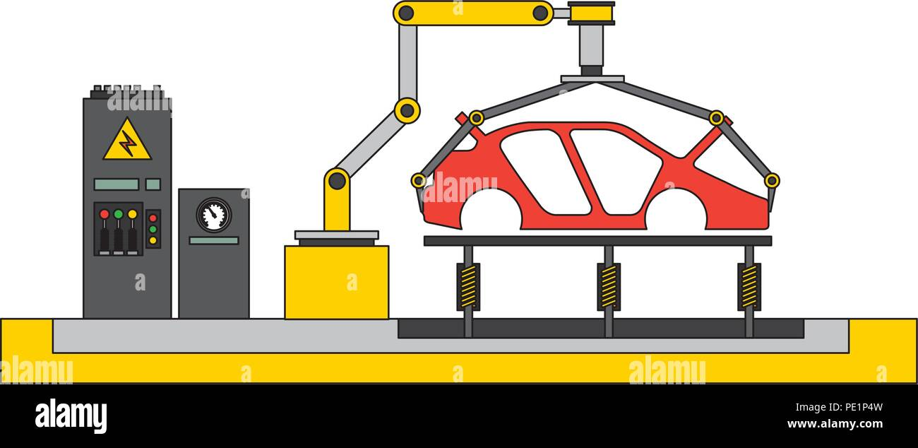 body of car on the assembly line the conveyor at the factory Stock Vector