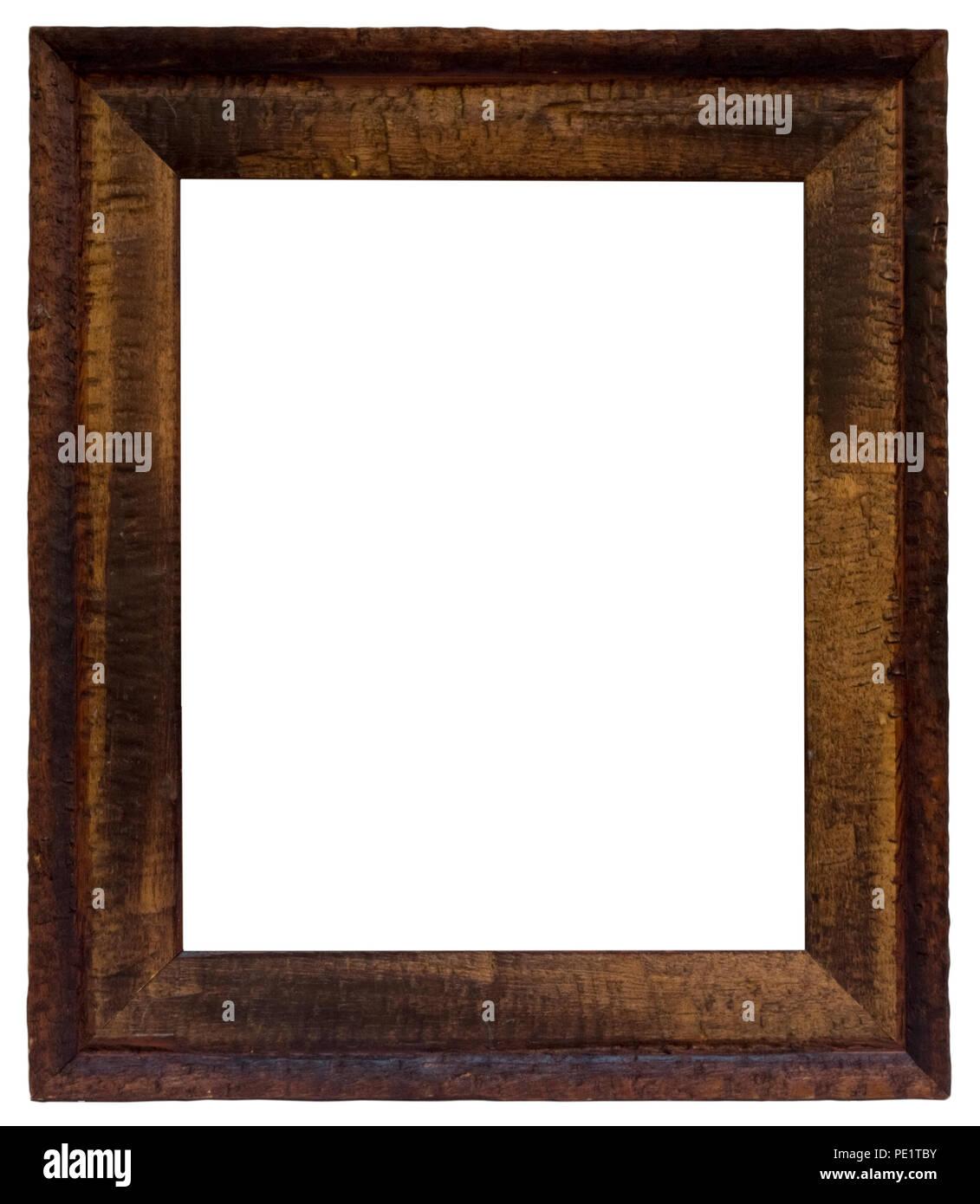 Unregelmäßiger Bilderrahmen aus Holzlatten in unterschiedlichen Farbtönen für Gutscheine, besondere Einrahmung...... Stock Photo