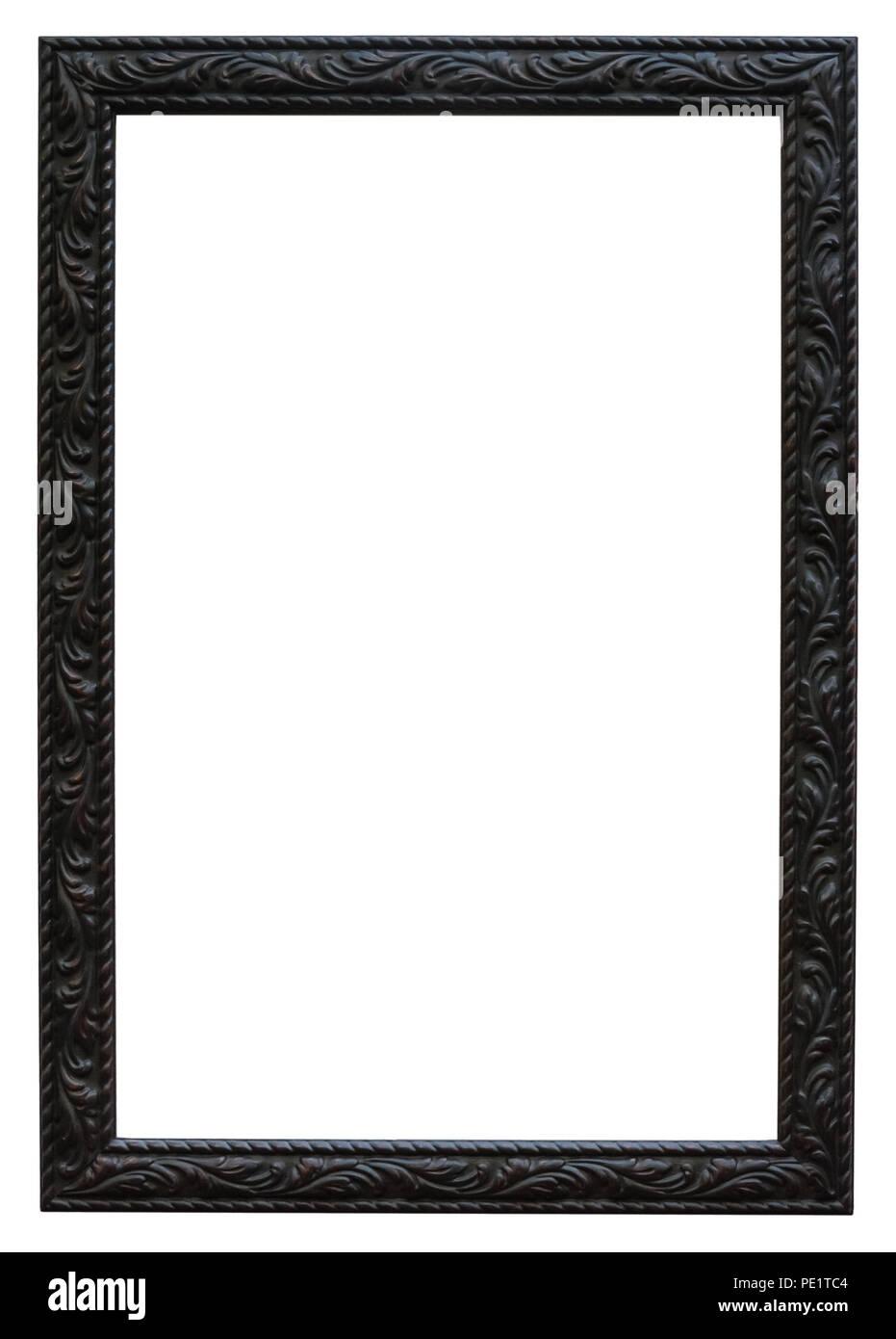 Schwarzer Bilderrahmen mit wunderschönen Pflanzenornamenten für besondere Gutscheine oder als herrliche Umrandung von Bildern Stock Photo